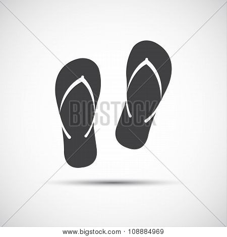 Simple beach flip flops icon