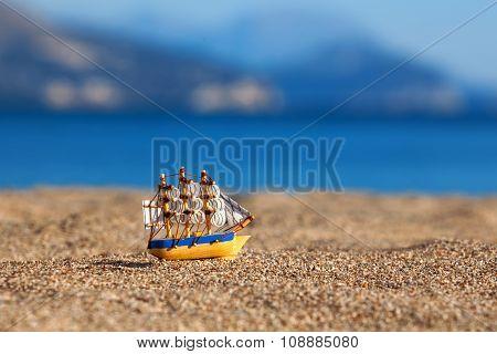 Souvenir Sailing Vessel On A Beach