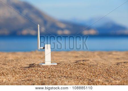Wi-fi Modem On A Beach