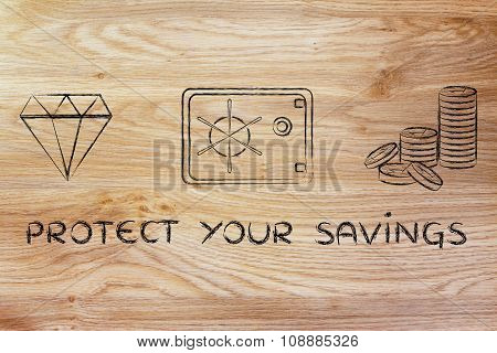 Diamond, Coins And Safe With Text Protect Your Savings