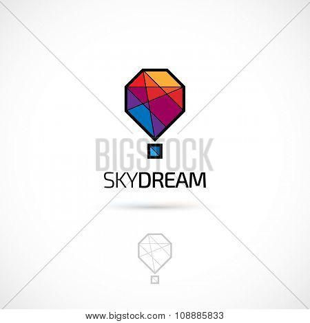 Vector logo design, polygonal hot balloon symbol icon. Logotype template.