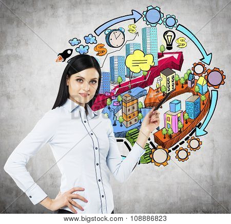 A Brunette Lady Is Pointing Out The Element On The Business Development Diagram. A Colourful Sketch