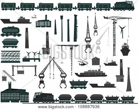 Heavy industry concept set of design elements, trains, lorries, ships cargo and etc