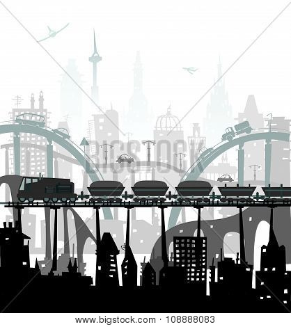 Train running though the city. Heavy industry concept illustration