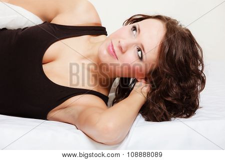 Sexy Girl Lazy Woman With Pillow On Bed In Bedroom