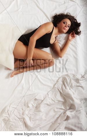 Sexy Girl Lonely Woman Lying On Bed In Bedroom