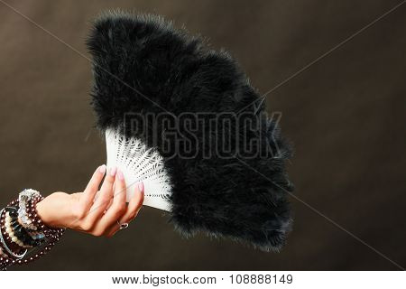 Woman Holding Black Feather Fan In Hand