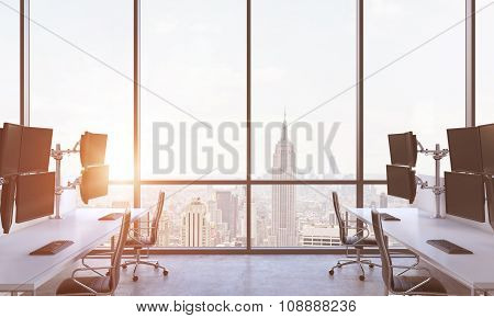 A Modern Trader's Workplaces In A Modern Panoramic Office In New York City. A Concept Of Financial M