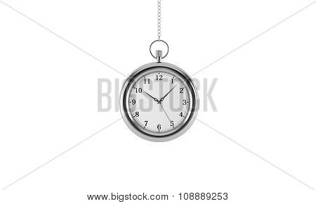 Silver Pocket Watch. Isolated On White Background. 3D Rendering.