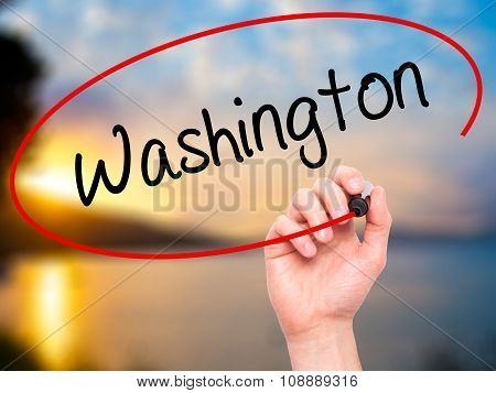 Man Hand writing Washington with black marker on visual screen