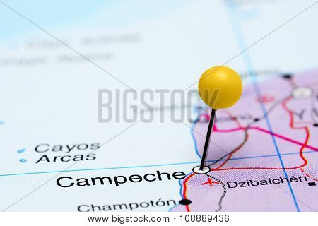 Campeche pinned on a map of Mexico