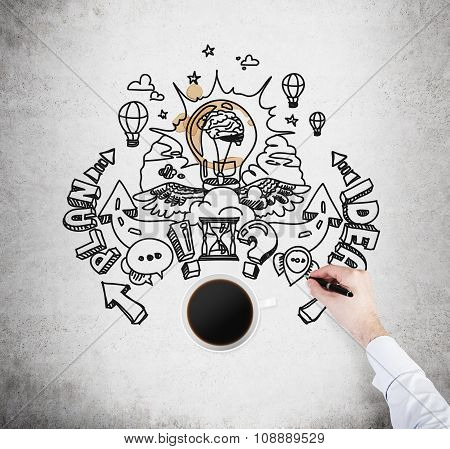 A Top View Of A Cup Of Coffee And A Hand Which Is Drawing A Sketch Of Developing A New Business Plan