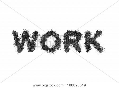 The Word Work Is Composed From Black Leather Office Chairs. A White Background.