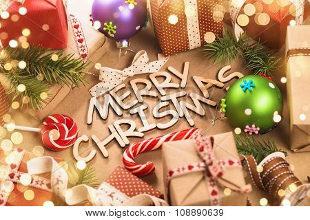 Christmas decorations and greeting Merry Christmas closeup
