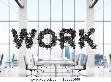 There Is A Word Work On The Foreground. A Modern Panoramic Office With Contemporary Workplaces Which
