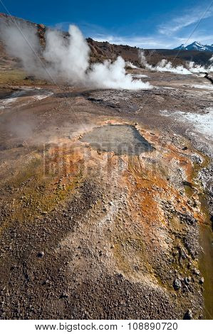 Valley Geysers At El Tatio, Northern Chile At Sunrise, Atacama Region, Close To The Bolivian Border
