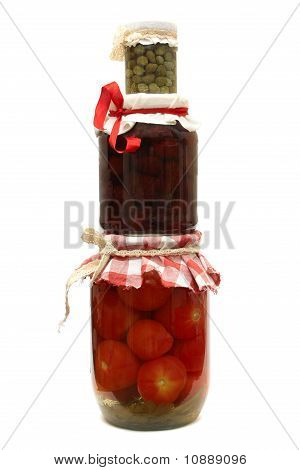 Jar With Preserves. Jam, Tomatoes And Capers Isolated On White Background