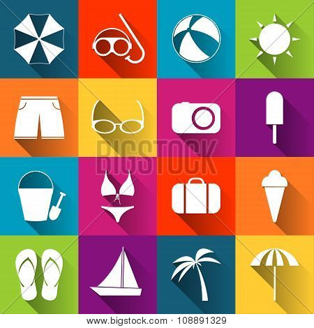 Summer beach icons collection