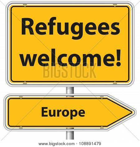 Illustration Vector Graphic Road Sign Refugees Europe