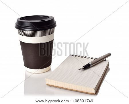 Coffee Cup, Notebook And Ink Pen