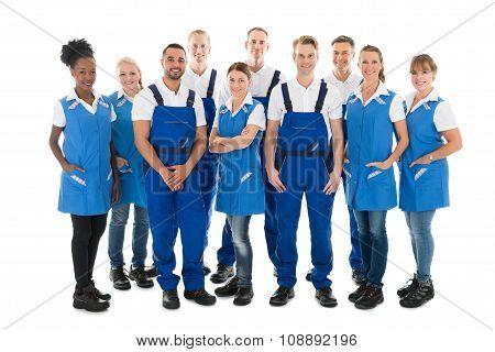 Group Portrait Of Confident Janitors