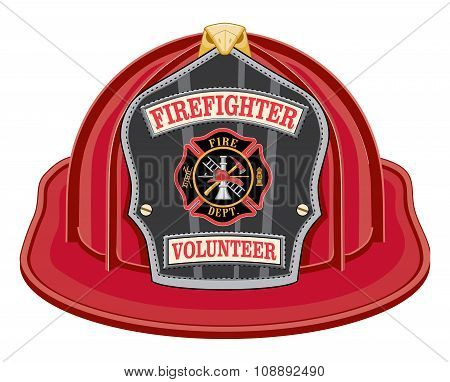 Firefighter Volunteer Red Helmet