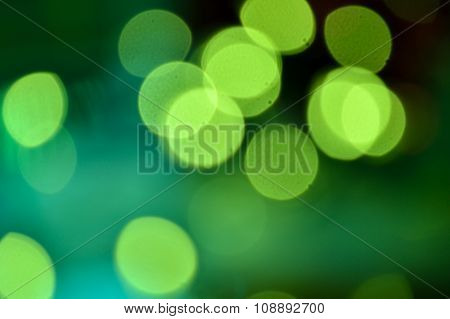 Bright Green Lights, Bokeh.