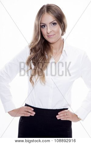 Portrait of beautiful young adult attractive sexy and sensuality happy smiling pretty brunette student woman elegance business style dress, Isolated on white background
