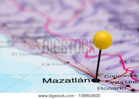 Mazatlan pinned on a map of Mexico