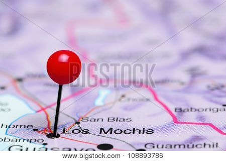 Los Mochis pinned on a map of Mexico