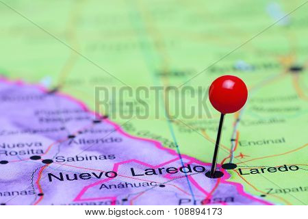 Nuevo Laredo pinned on a map of Mexico