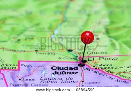 Ciudad Juarez pinned on a map of Mexico