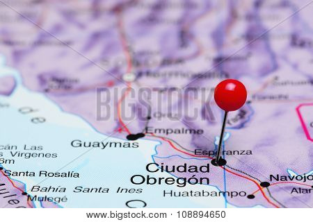 Ciudad Obregon pinned on a map of Mexico