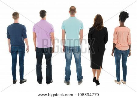 Rear View Of Creative Business People Standing With Manager