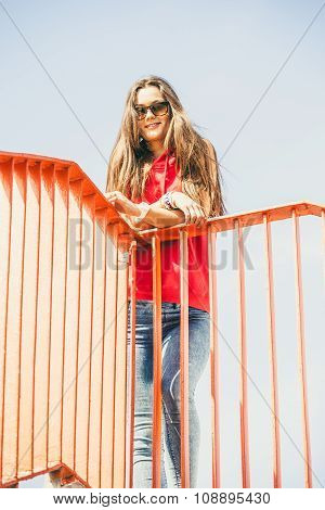 Urban Skate Girl On Bridge.