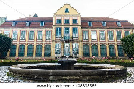 Abbots Palace In Gdansk Oliva Park. Building With Fountain