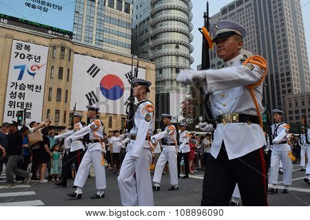 Soldiers march in Seoul