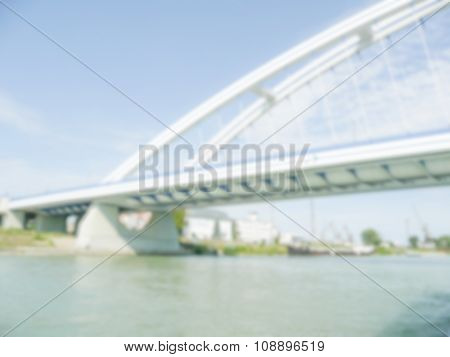 Defocused Background With Detail Of Apollo Bridge In Bratislava, Slovakia