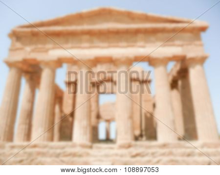 Defocused Background With The Temple Of Concordia, Agrigento, Italy