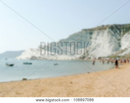 Defocused Background Of Southern Italy Coastline. Intentionally Blurred Post Production