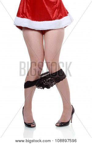 Female Santa Party Girl With Panties Falling Down Accident Isolated On White Background