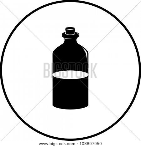 potion or medicine in glass bottle with cork lid symbol