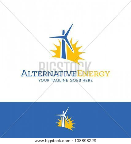 abstract wind turbine and sun for energy related business, website