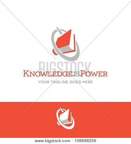 book and power icon combined. logo for education related business, website