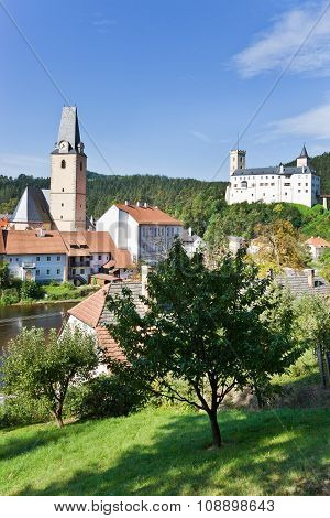 castle and town Rozmberk, Bohemia, Czech republic