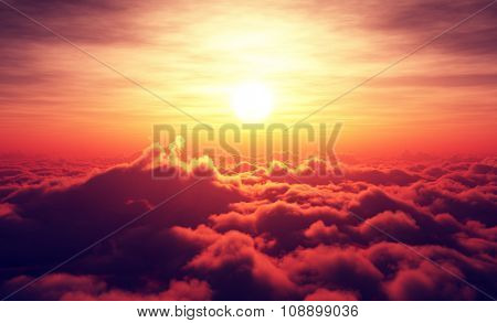Golden Sunrise above puffy clouds (Digital artwork)