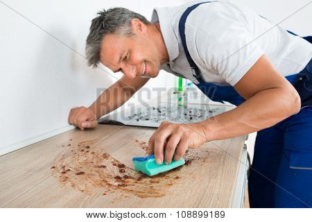 Happy Man Cleaning Counter With Sponge