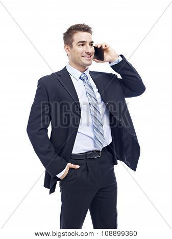 Caucasian Businessman Talking On Cellphone