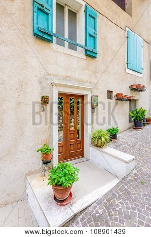 Entrance of a apartment building in Limone, Venice, Italy.