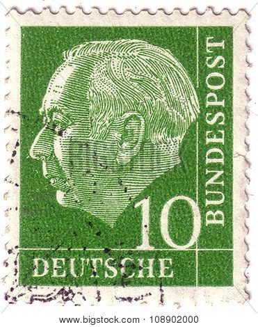 Germany - Circa 1954: A Postage Stamp Printed In Germany With Portrait Image Of Theodor Heuss, Presi